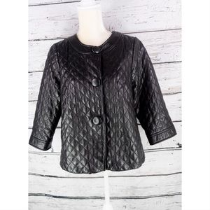 Vince. Black Quilted Diamond 3/4 Leather Jacket